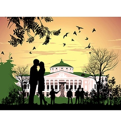Tourists walk in the park Ostankino Estate vector image