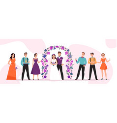 Wedding marriage ceremony horizontal vector