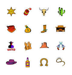 wild west icons set cartoon vector image