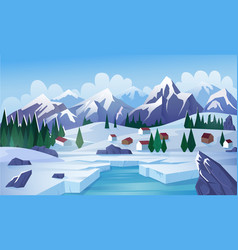 Winter lake flat vector