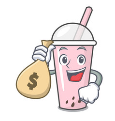 with money bag raspberry bubble tea character vector image