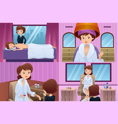 Woman getting pampered in a beauty salon vector