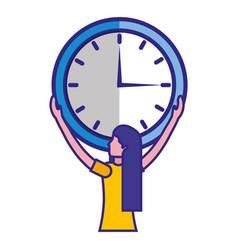 woman holding big clock time business vector image