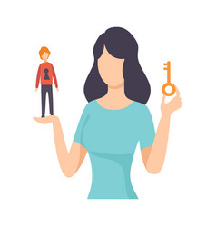Young woman holding key and tiny man with keyhole vector