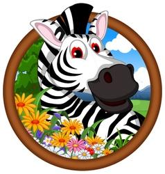 zebra cartoon in frame vector image