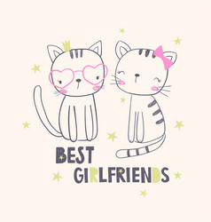 best girlfriends t-shirt graphic for kids vector image vector image