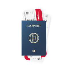 blue passport and boarding pass tickets realistic vector image