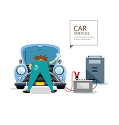 Car mechanic workers in blue car service engine vector