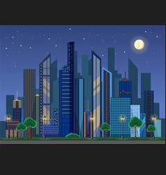 flat style modern design of urban night city vector image