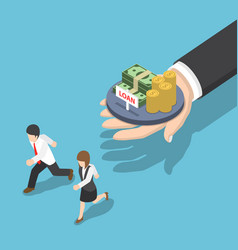 isometric business people running away from loan vector image vector image