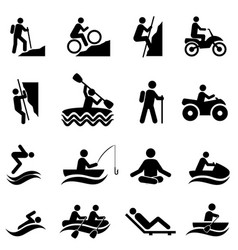 leisure and recreational activities icons vector image vector image