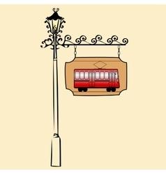 Street sign retro tram vector image