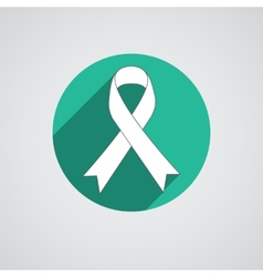 Breast cancer awareness white ribbon on white vector image vector image