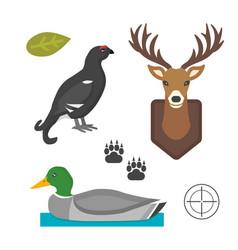 deer head wild and bird duck silhouette mammal vector image