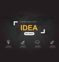idea icons with world black map for business vector image vector image