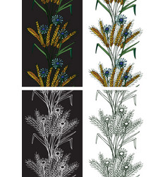 pattern seamless spikelets and flowers vector image vector image
