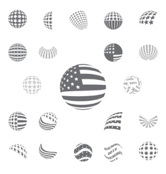 Spherical gray color symbols USA Flag vector image