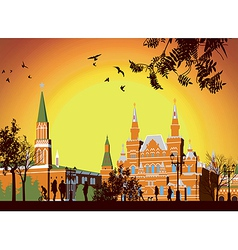 Tourists walk on Red Square in Moscow vector image