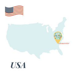 usa map with caharleston pin travel concept vector image