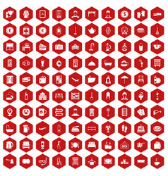 100 inn icons hexagon red vector image vector image