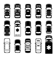 Car top view transportation black icons vector image vector image