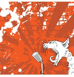 cat on the microphone vector image vector image