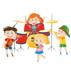 Children playing music in band vector