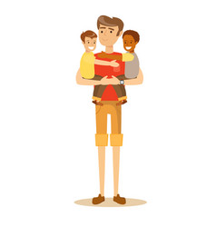 father carries the child in her arms vector image vector image
