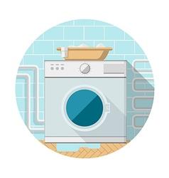 Flat icon of washing machine in bathroom vector image vector image