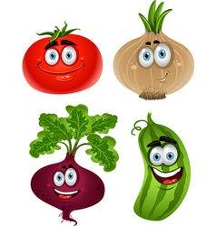 Funny cartoon cute vegetables tomato beet cucumber vector image vector image