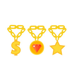 gold necklace decoration treasure luxury fashion vector image