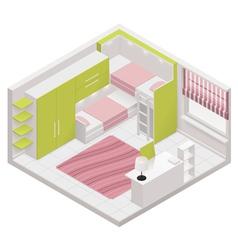 isometric children room icon vector image vector image