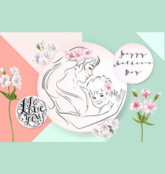 mothers day greeting card flowers and mother with vector image vector image