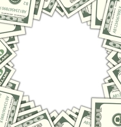 Round Frame with Dollars with Shadows on White vector image vector image
