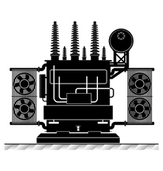 The high-transformatorel Black and white vector image