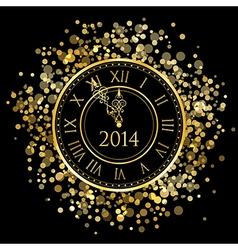 2014 - shiny New Year Clock vector image