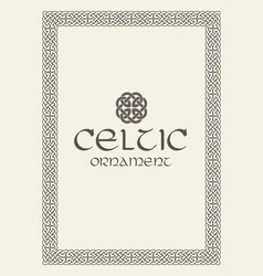 celtic knot braided frame border ornament vector image vector image