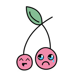 Kawaii cute happy and crying strawberry fruit vector