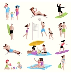 People On Beach Icons vector image vector image