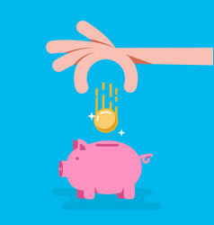 piggy bank with coin in flat style design element vector image