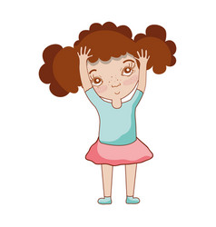 pretty girk with hands up and casual wear vector image vector image