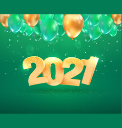 2021 golden number happy new year celebration vector image