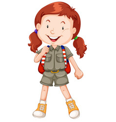 A red haired girl scout character vector