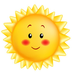 a small smiling sun in yellow color in a cartoon vector image