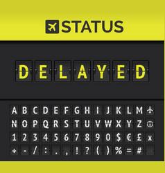 Airport flip board showing flight departure or vector