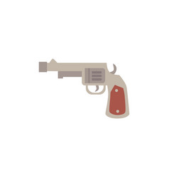 antique long barrel revolver pistol icon flat vector image