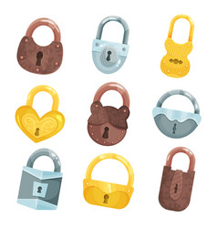 Antique old padlocks set bronze golden and vector