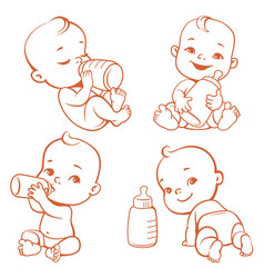 Baby and milk vector