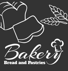 Bakery bread and pastries outline dark background vector
