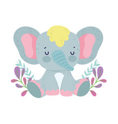 Bashower cute elephant sitting with flower vector